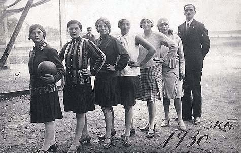 Czechoslovakian Jewish girls' soccer team and their coach, circa 1930. Photo Credit: Yad Vashem Photo Archives