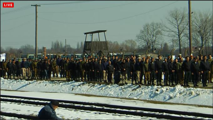 Participants in the March of the Living on Monday (photo credit: screen capture)